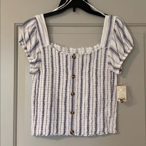 Women's Striped Top with Buttons